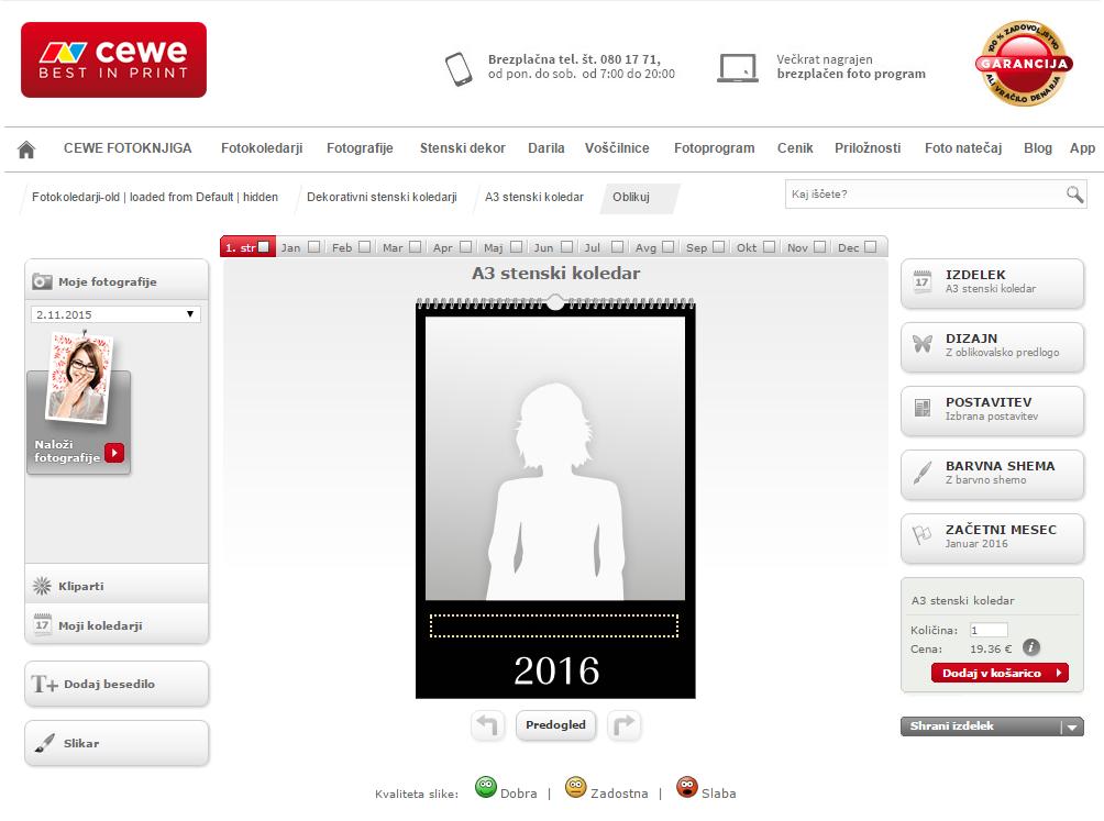 Oblikovanje CEWE koledarja