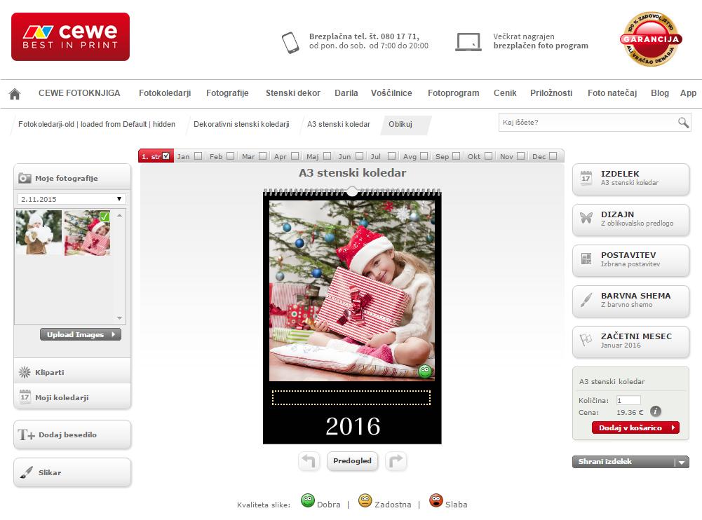 Vnos fotografij v CEWE koledar
