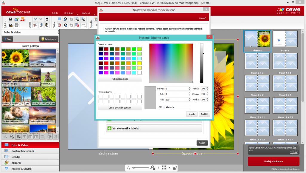 Izbira barve besedila in robov okoli fotografije_CEWE foto program