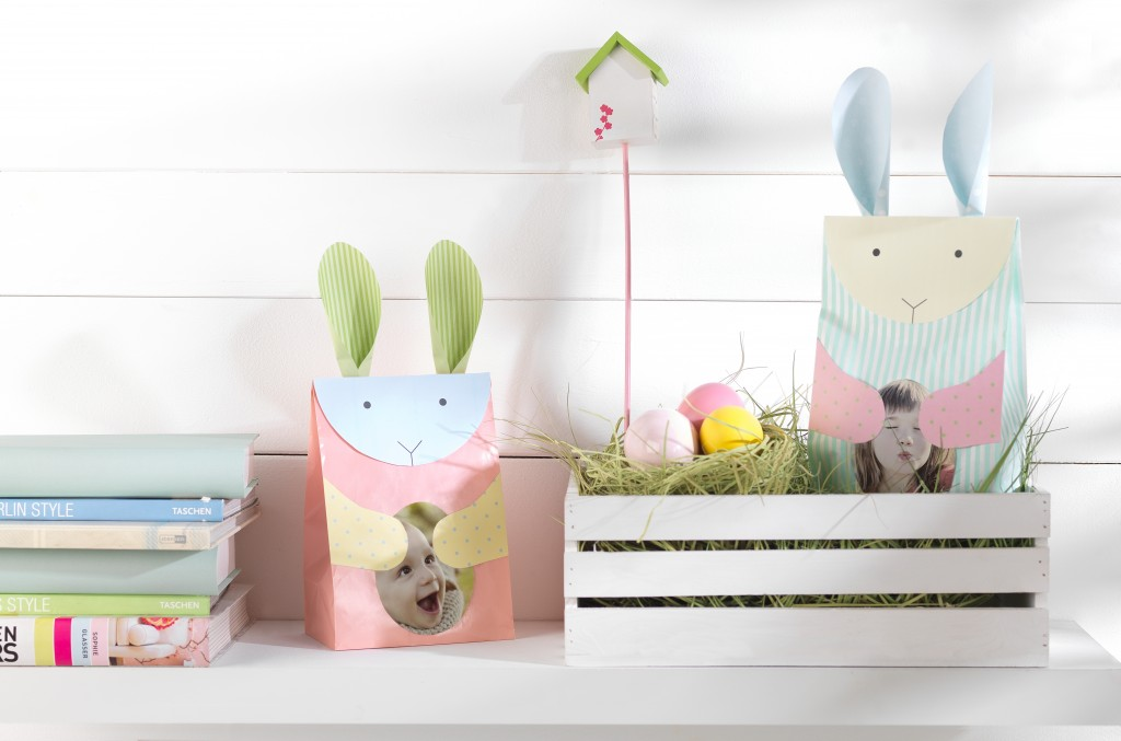 Foto nalepke nalepljene na darilih in velikonočna jajca