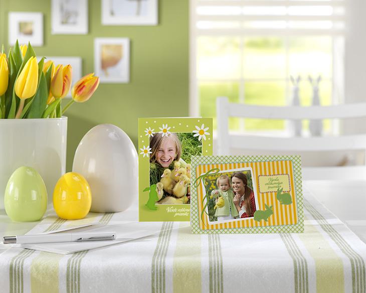 Velikonočne voščilnice z lastno fotografijo, tulipani in velikonočna jajčka