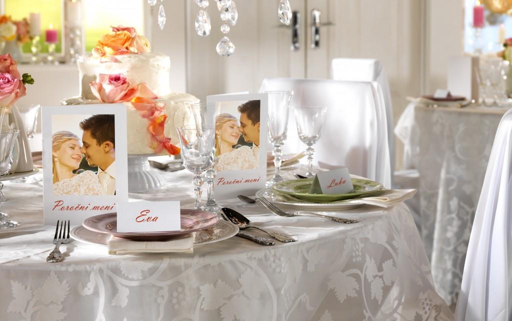Poročna gostija, poročni meni in kartice z imeni