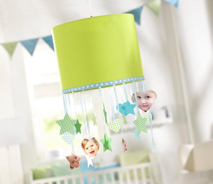 Izrezane fotografije otrok kot okraski na svetilki