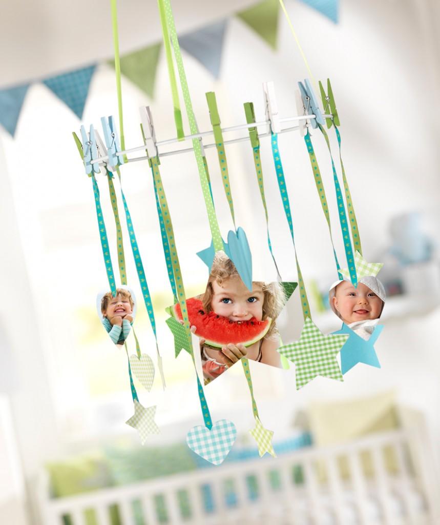 Izrezane fotografije otrok kot okraski v sobi