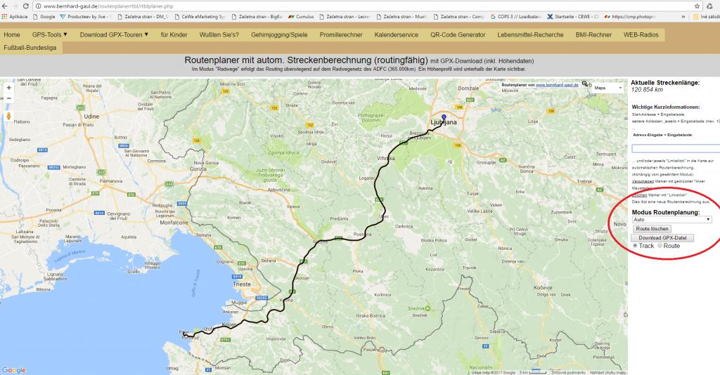 Pridobitev GPS koordinat za pot