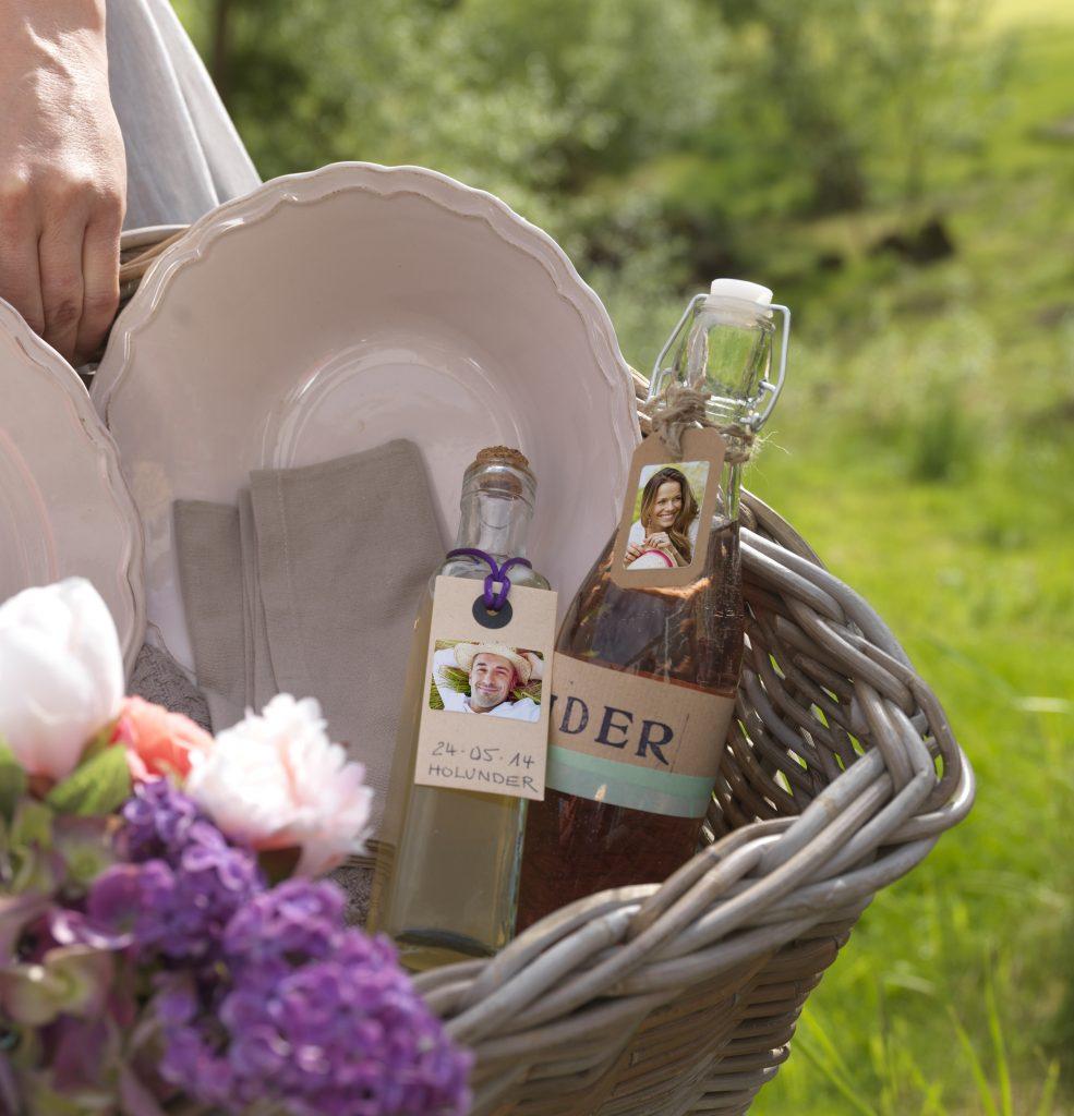 Foto nalepke na steklenici z domačim sokom