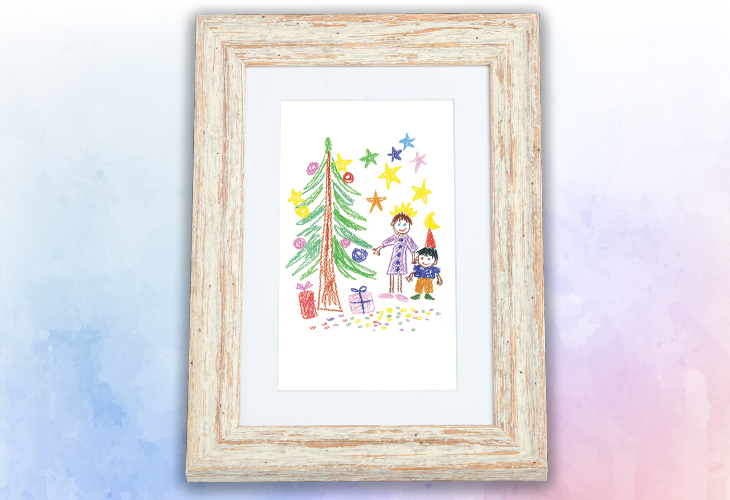 Okvirjena otroška risbica z božičnim motivom