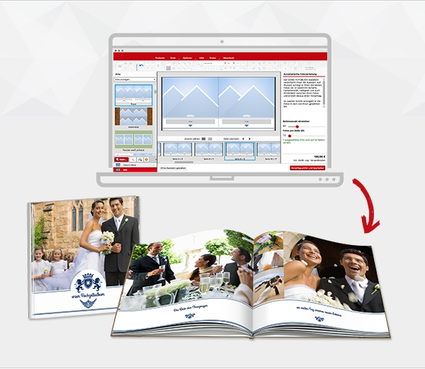 oblikovanje fotoknjige in izdelana fotoknjiga