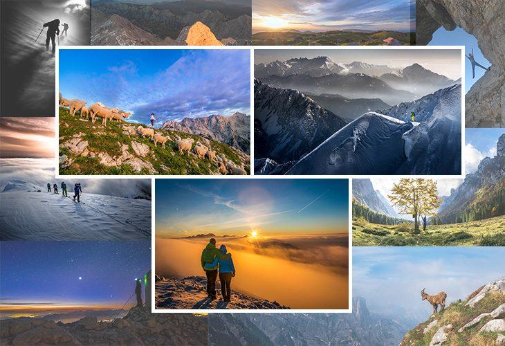 kolaž s fotografijami iz gora