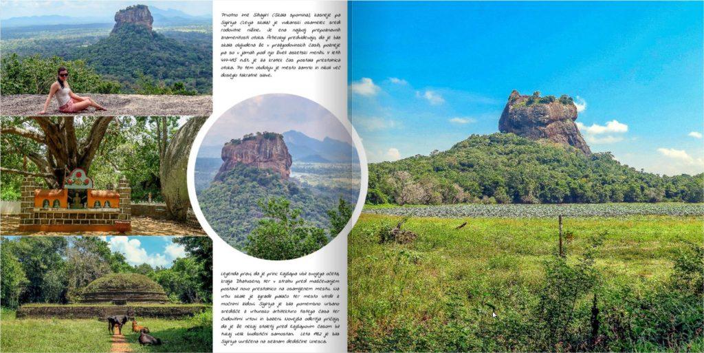 Stran v fotoknjigi s fotografijami narave s Šrilanke