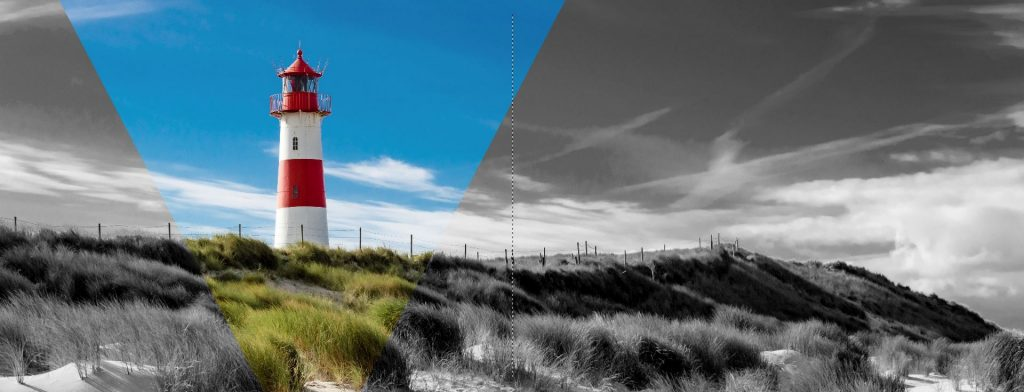 Barvni svetilnik v barvnem trikotniku na črno-belem ozadju