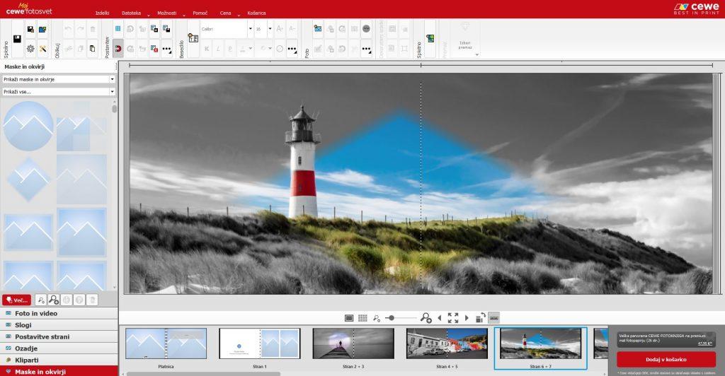 Barvni del slike na črno-belem ozadju v fotoprogramu