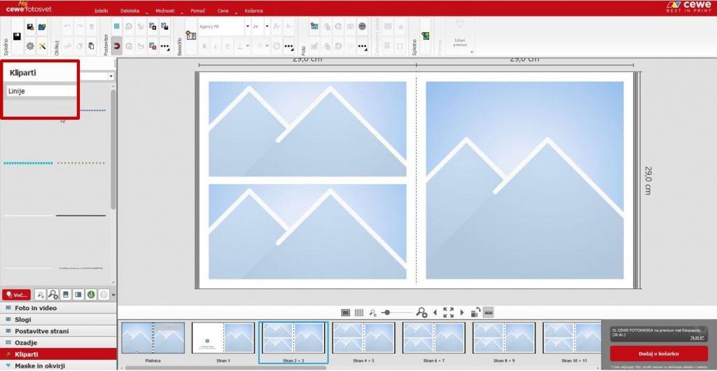 Slika iz fotoprograma ki prikazuje, kje se nahajajo linije v fotoprogramu