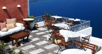 Fotografija kavarne z otoka Santorini